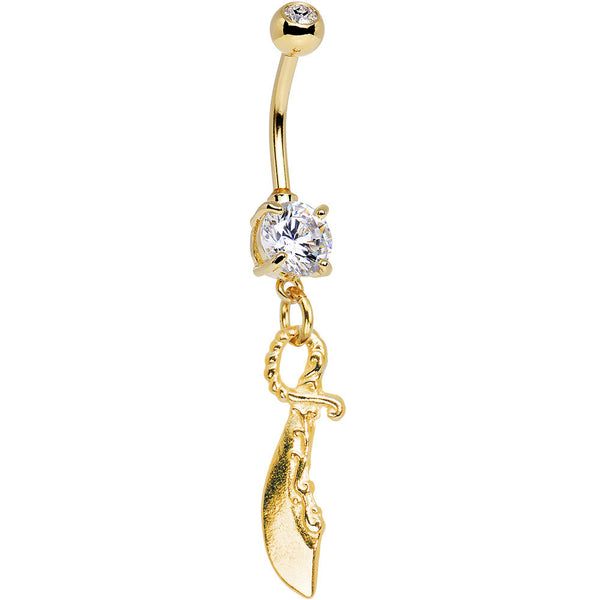 Gold Saber Sword Dangle Clear Gem Belly Ring