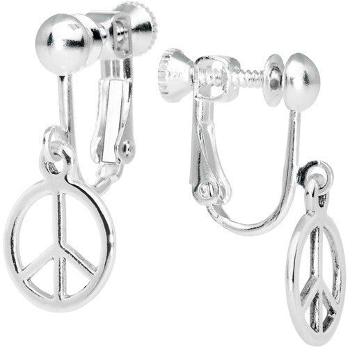 Silvery Peace Sign Clip Earrings