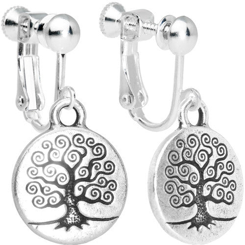 Silver Tone Tree of Life Clip On Earrings