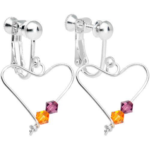 Personalized Heart Couples Birthstone Clip On Earrings Created with Swarovski Crystals