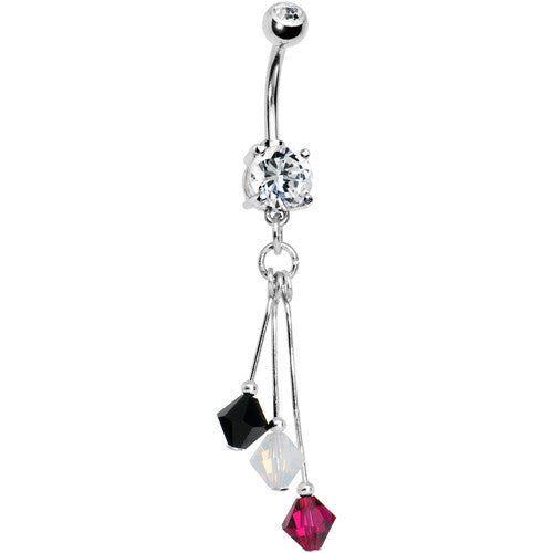 Black White Red Crystal Sports Team Belly Ring