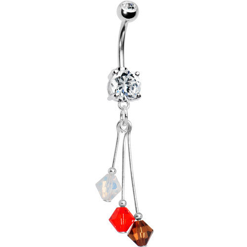 Brown Orange White Crystal Sports Team Belly Ring