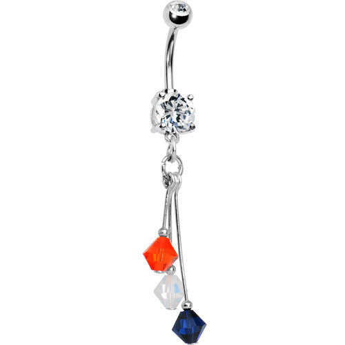 Blue Orange White Crystal Sports Team Belly Ring
