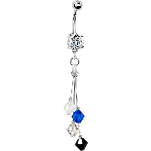 Black Blue Silver White Crystal Sports Team Belly Ring