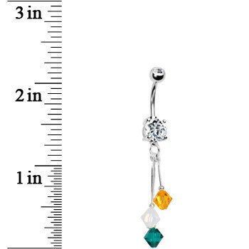 Green Gold Crystal Sports Team Belly Ring