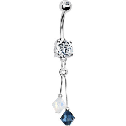 Blue White Crystal Sports Team Belly Ring