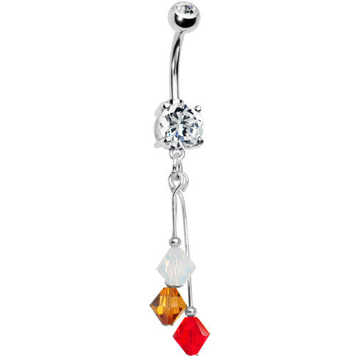 Red Gold Crystal Sports Team Belly Ring