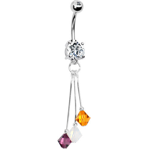 Purple Gold White Crystal Sports Team Belly Ring