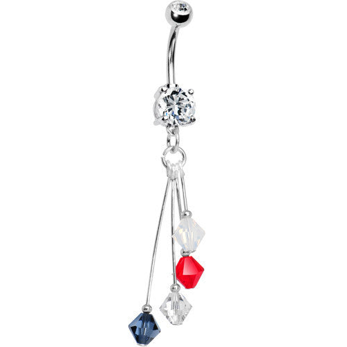 Blue Silver Red White Crystal Sports Team Belly Ring