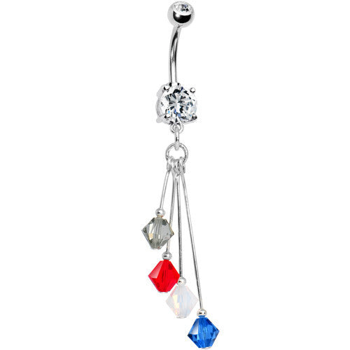 Blue Red White Grey Crystal Sports Team Belly Ring