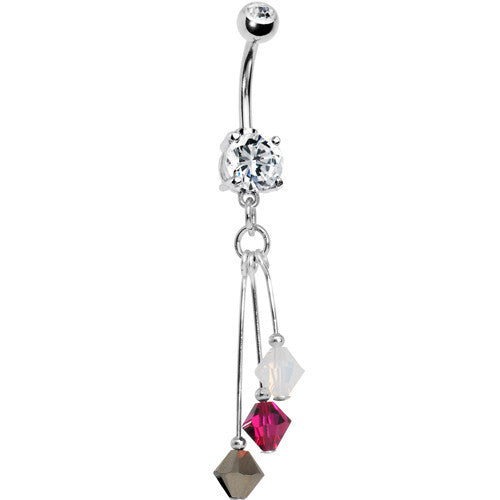 Red Metallic Gold Crystal Sports Team Belly Ring