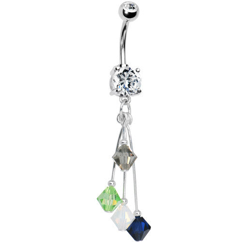 Navy Green Grey White Crystal Sports Team Belly Ring