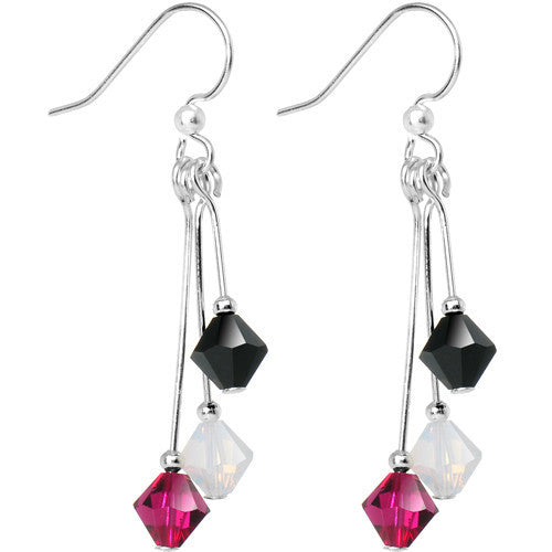 Black White Red Crystal Sports Team Earrings