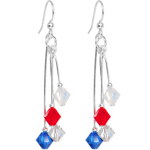 Red White Blue Crystal Sports Team Earrings