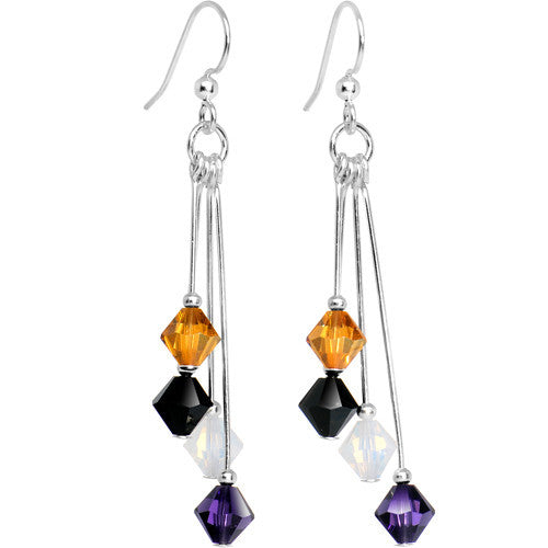 Purple Black Gold White Crystal Sports Team Earrings