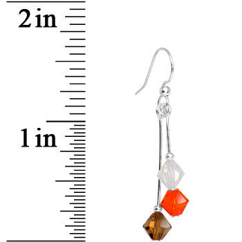 Brown Orange White Crystal Sports Team Earrings