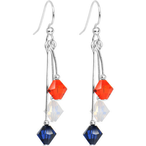 Blue Orange White Crystal Sports Team Earrings