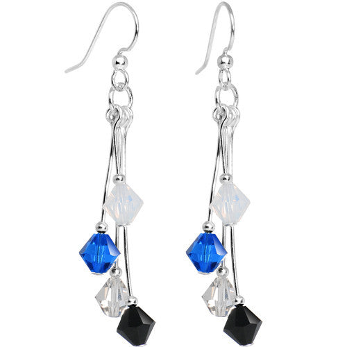 Black Blue Silver White Crystal Sports Team Earrings