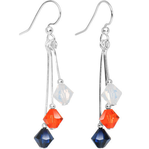 Orange Blue White Crystal Sports Team Earrings