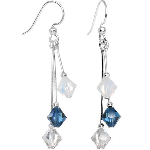 Blue White Silver Crystal Sports Team Earrings