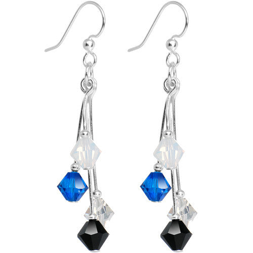 Blue Silver Black White Crystal Sports Team Earrings