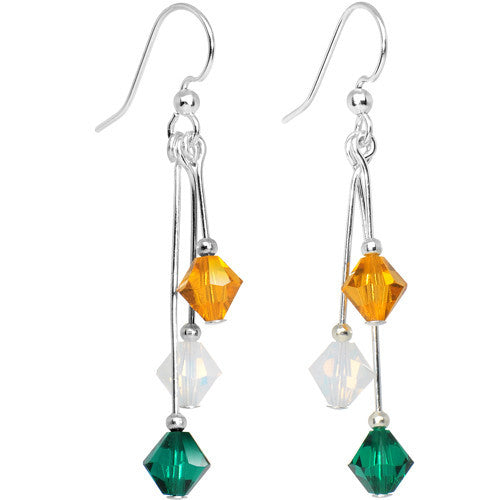 Green Gold Crystal Sports Team Earrings