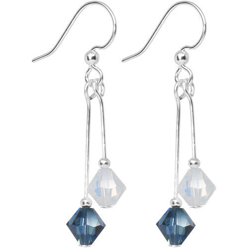 Blue White Crystal Sports Team Earrings
