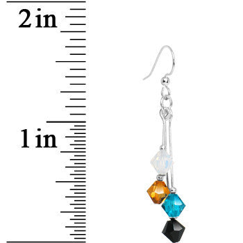 Teal Black Gold White Crystal Sports Team Earrings
