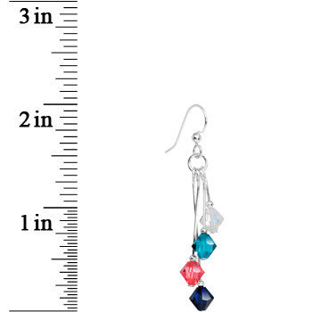 Aqua Orange White Navy Blue Crystal Sports Team Earrings