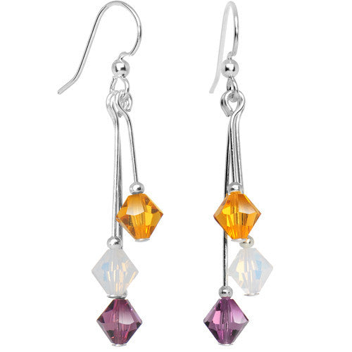 Purple Gold White Crystal Sports Team Earrings