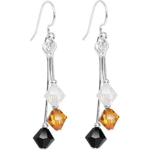 Black Gold White Crystal Sports Team Earrings