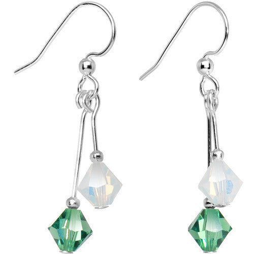 Green White Crystal Sports Team Earrings