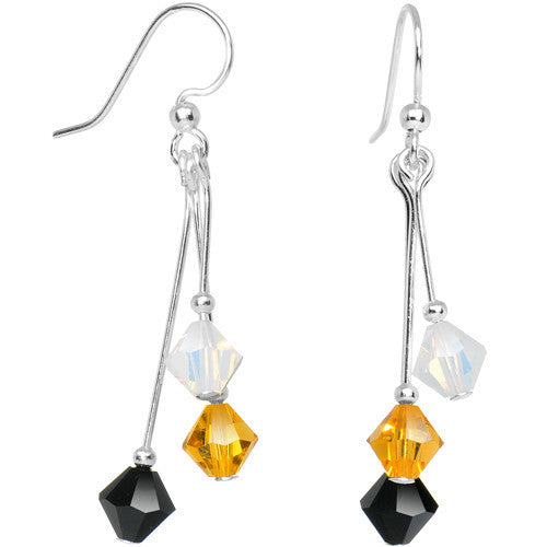 Black Yellow Gold White Crystal Sports Team Earrings