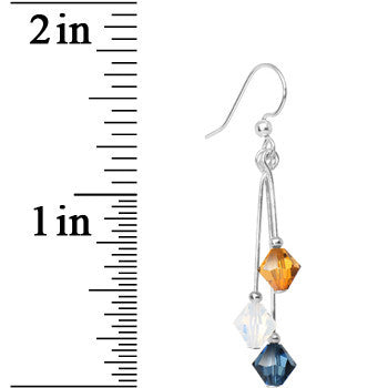 Blue Gold White Crystal Sports Team Earrings