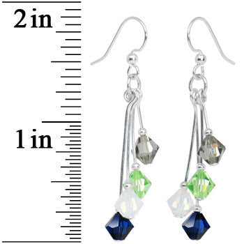 Navy Green Grey White Crystal Sports Team Earrings