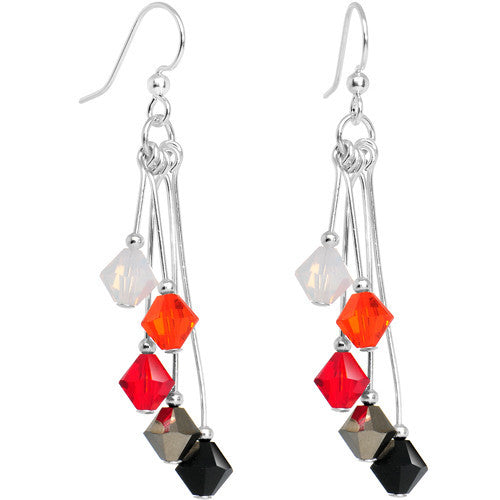 Red Black White Orange Crystal Sports Team Earrings