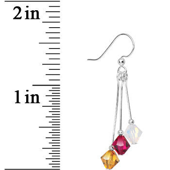 Burgundy Gold White Crystal Sports Team Earrings