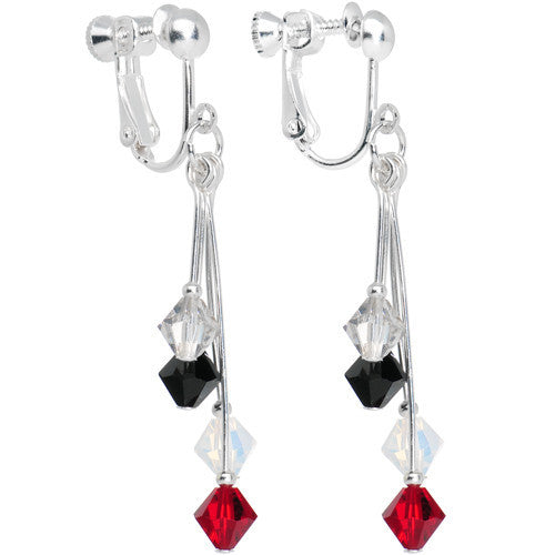 Red Black White Silver Crystal Sports Team Clip On Earrings