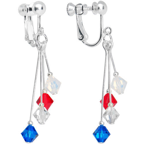 Red White Blue Crystal Sports Team Clip On Earrings