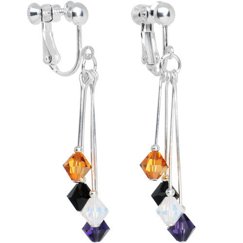 Purple Black Gold White Crystal Sports Team Clip On Earrings