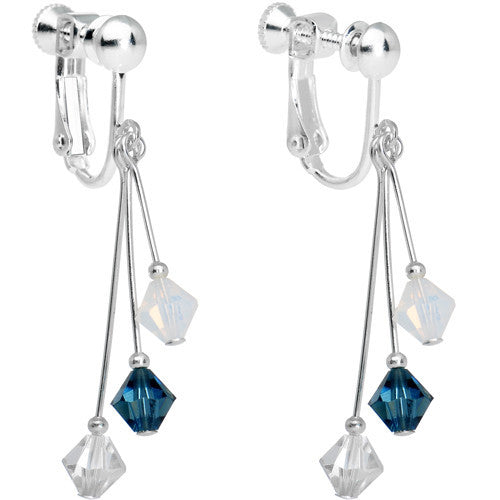 Blue White Silver Crystal Sports Team Clip On Earrings