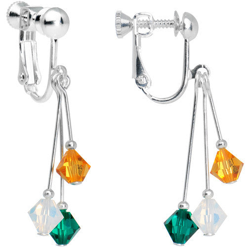 Green Gold Crystal Sports Team Clip On Earrings