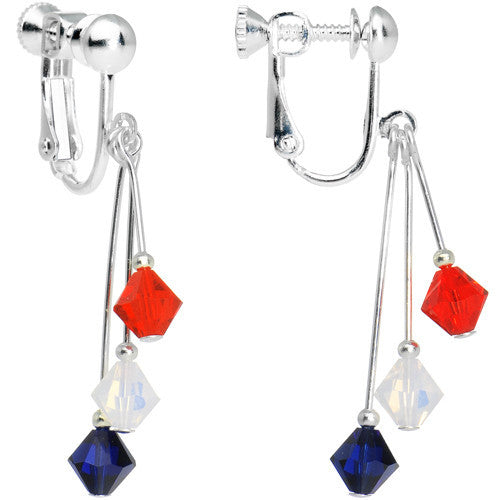 Blue Red White Crystal Sports Team Clip On Earrings