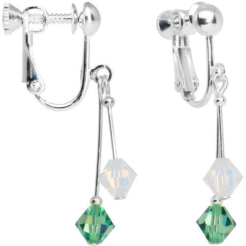 Green White Crystal Sports Team Clip On Earrings