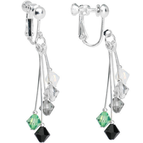 Green Black Silver White Crystal Sports Team Clip On Earrings