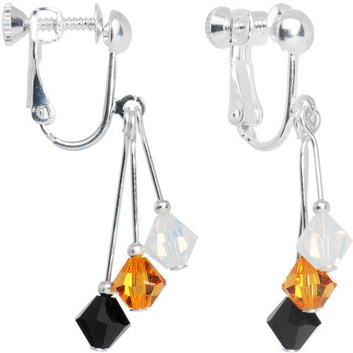 Black Yellow Gold White Crystal Sports Team Clip On Earrings