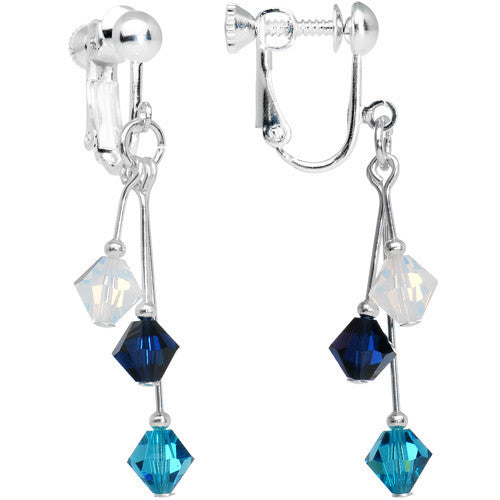 Blue Navy White Crystal Sports Team Clip On Earrings