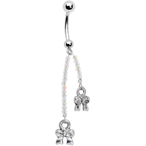 Double Ribbon Tie Belly Ring Created with Swarovski Crystals