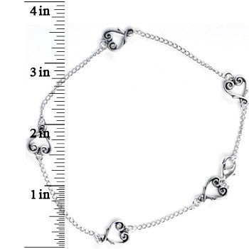 Handcrafted Chain Linked Scroll Heart Ankle Bracelet