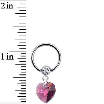 14 Gauge Handcrafted Februrary Birthstone Heart Dangle Captive Ring